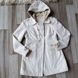 Billabong Double Breasted Peacot w/ Fur Lined Hood